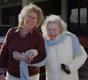 Mum & me, connected by umbillical scarf